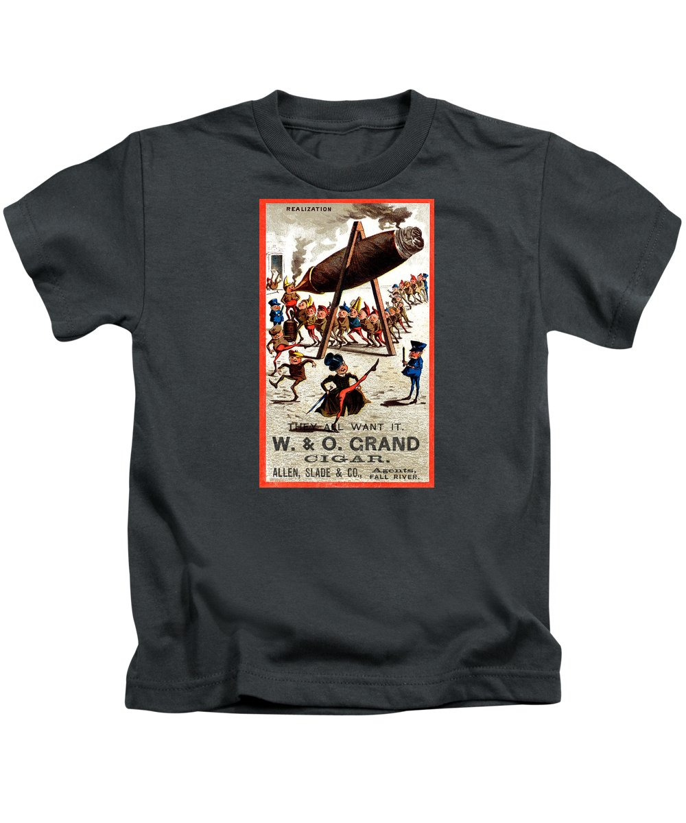 Historicimage Kids T-Shirt featuring the painting 19th C. Vintage Grand Cigar by Historic Image