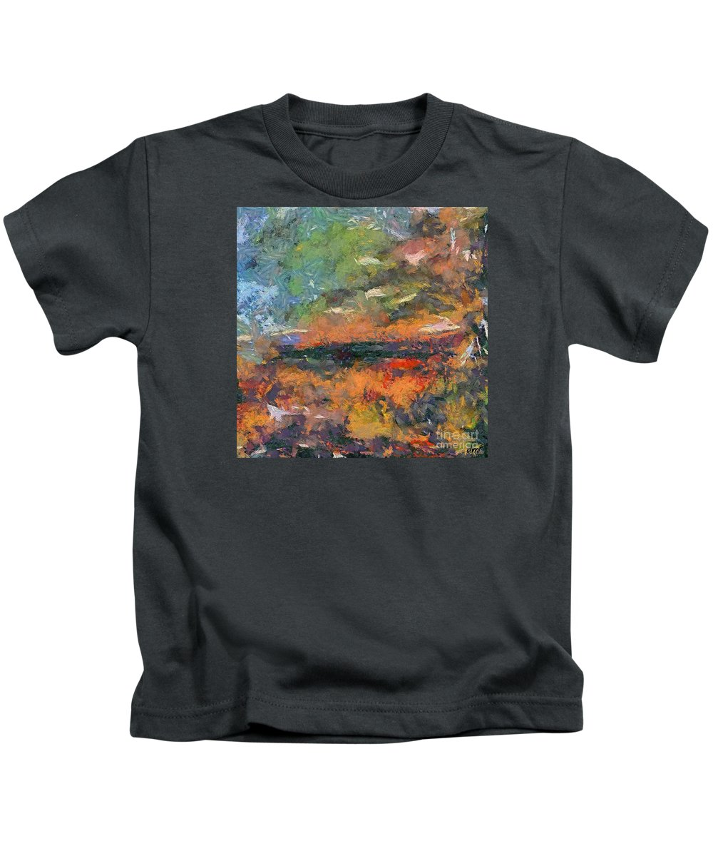 Dawn Kids T-Shirt featuring the painting At Dawn by Dragica Micki Fortuna