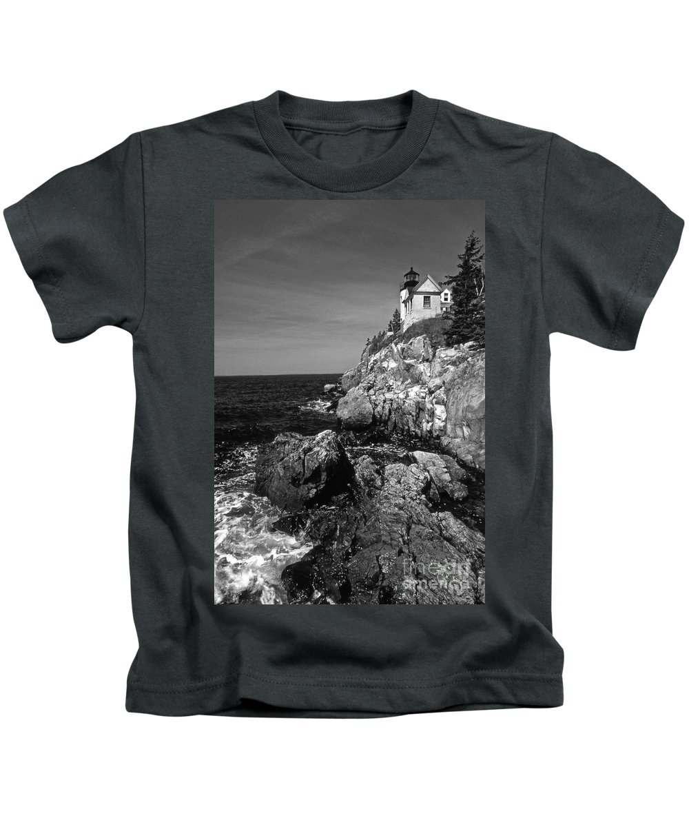 Lighthouses Kids T-Shirt featuring the photograph Bass Harbor Head Lighthouse by Skip Willits