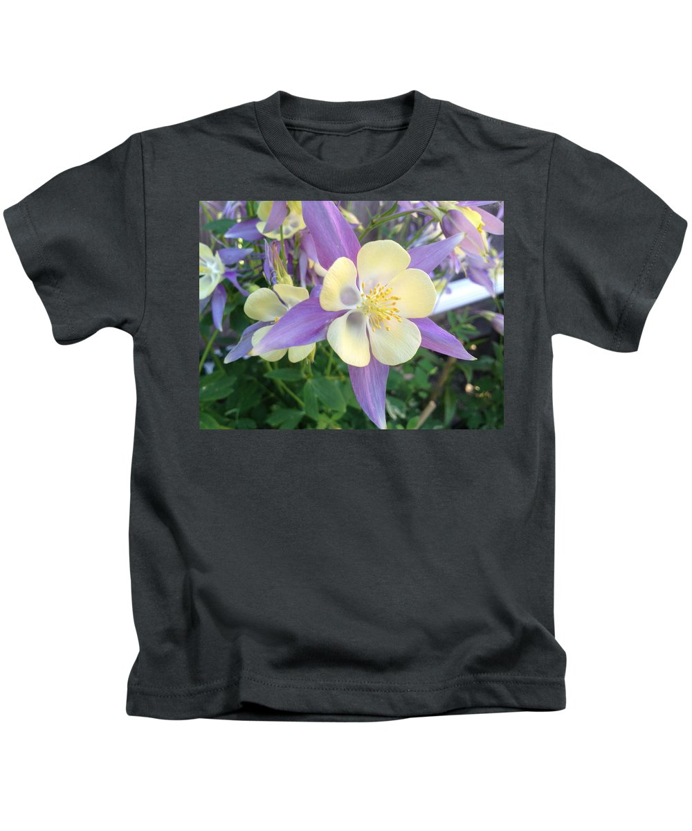 Spring Kids T-Shirt featuring the photograph Columbine by Pema Hou