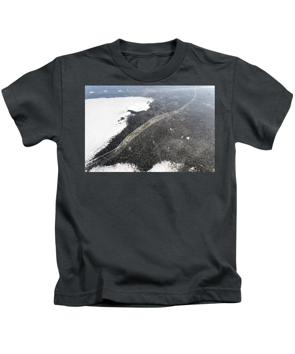 Dnieper Kids T-Shirt featuring the photograph Crackle In Ice by Alain De Maximy