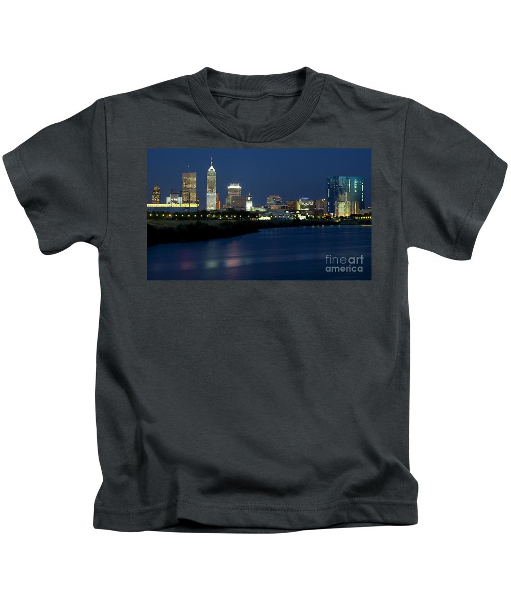 Downtown Kids T-Shirt featuring the photograph Downtown Indianapolis Indiana by Anthony Totah