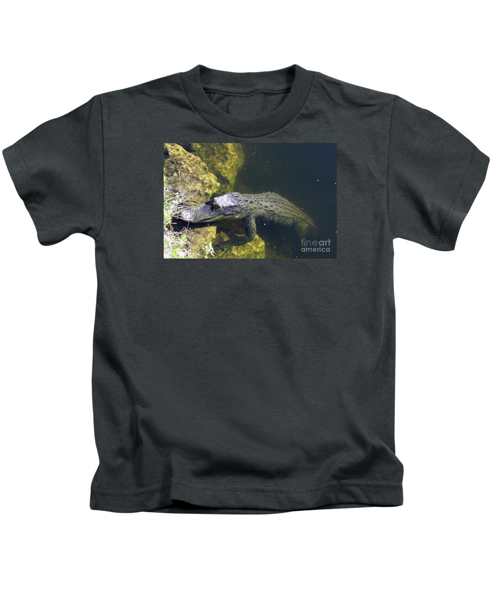 Alligator Kids T-Shirt featuring the photograph Hang Around by Christiane Schulze Art And Photography