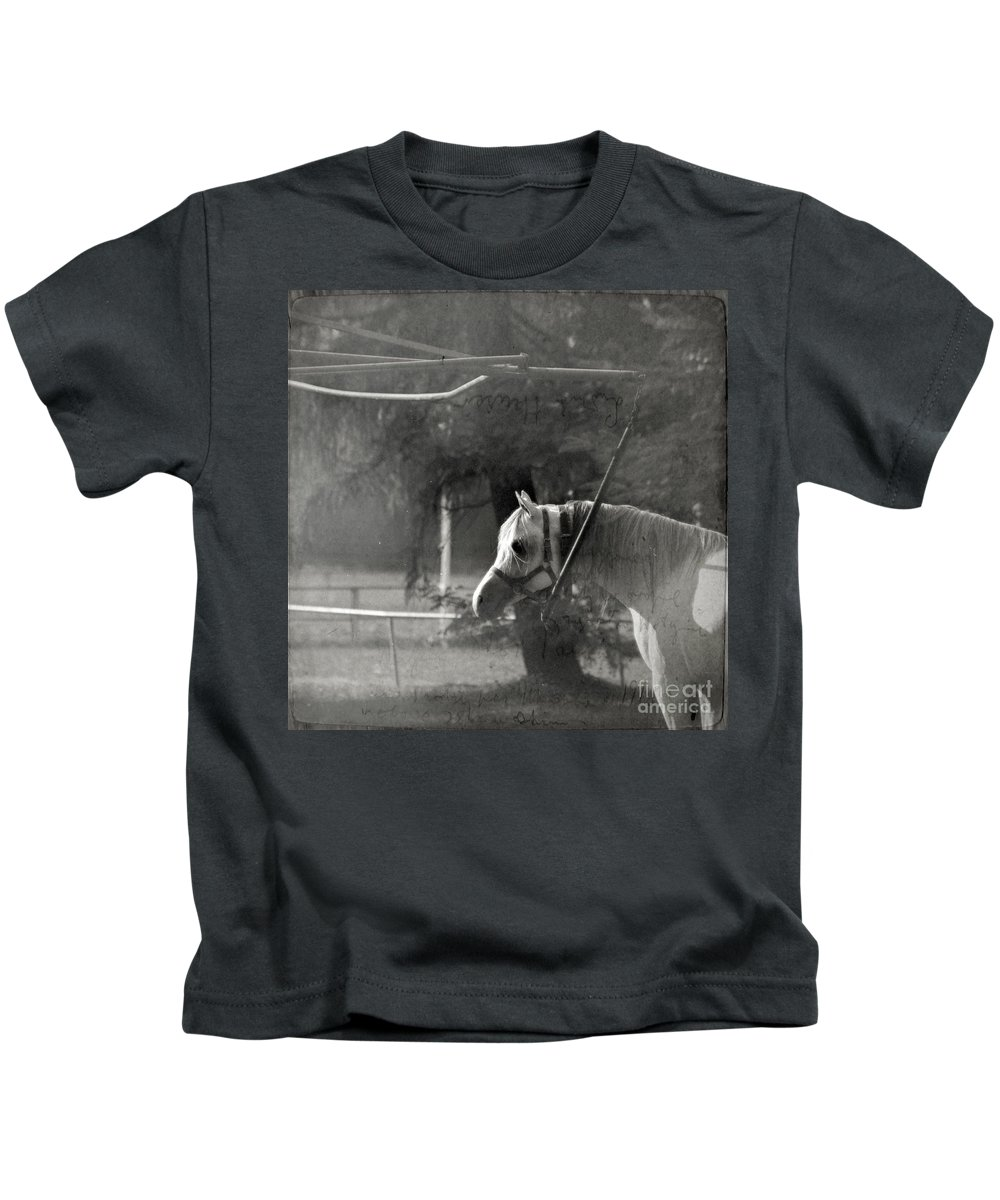 Horse Kids T-Shirt featuring the photograph In The Captivity by Angel Ciesniarska