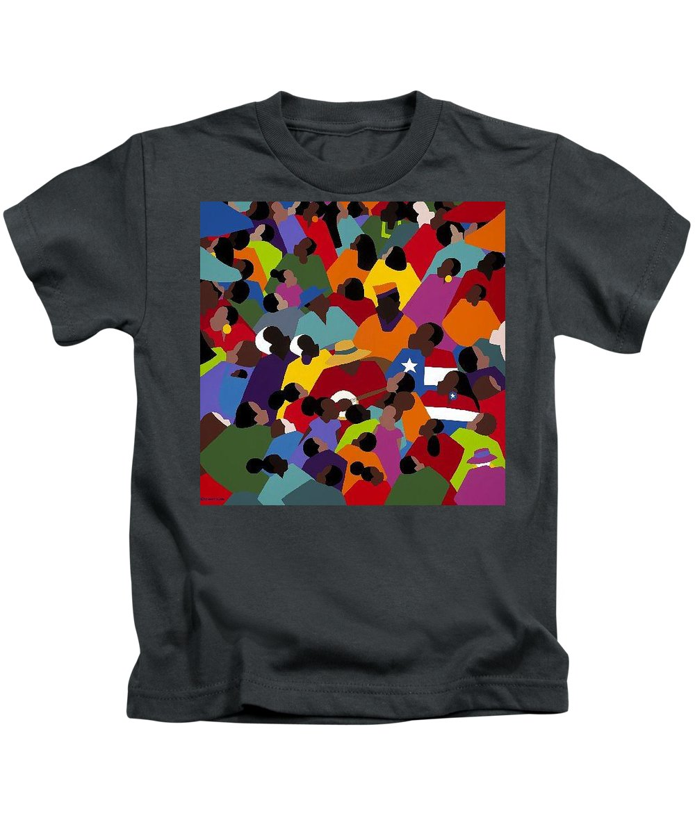 Juneteenth Kids T-Shirt featuring the painting Juneteenth by Synthia SAINT JAMES