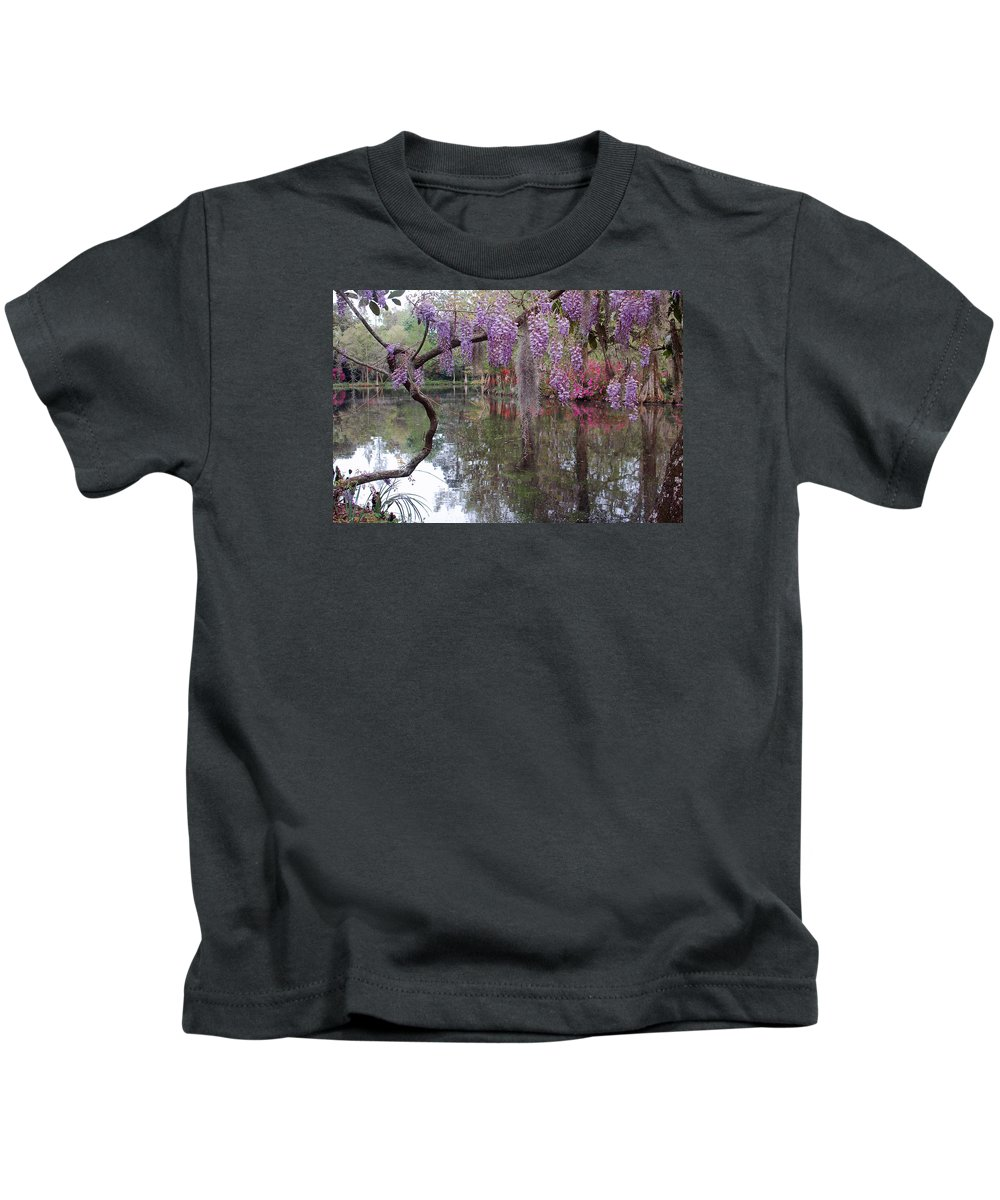 Wisteria Kids T-Shirt featuring the photograph Magnolia Plantation Gardens Series II by Suzanne Gaff