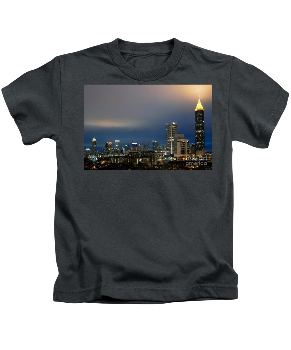 Bank Of America Kids T-Shirt featuring the photograph Midtown Atlanta Skyline At Dusk by Bill Cobb