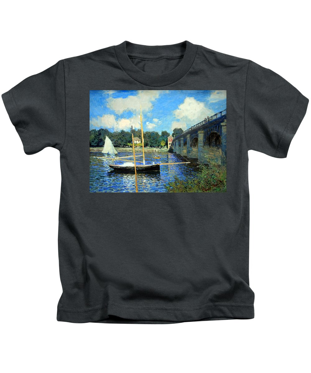 The Bridge At Argenteuil Kids T-Shirt featuring the photograph Monet's The Bridge At Argenteuil by Cora Wandel