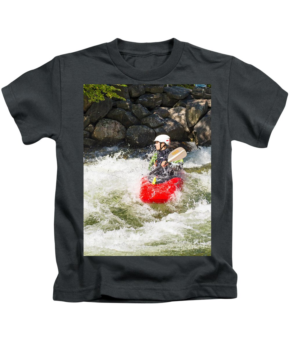 Kayak Kids T-Shirt featuring the photograph Red Whitewater Kayak by Les Palenik
