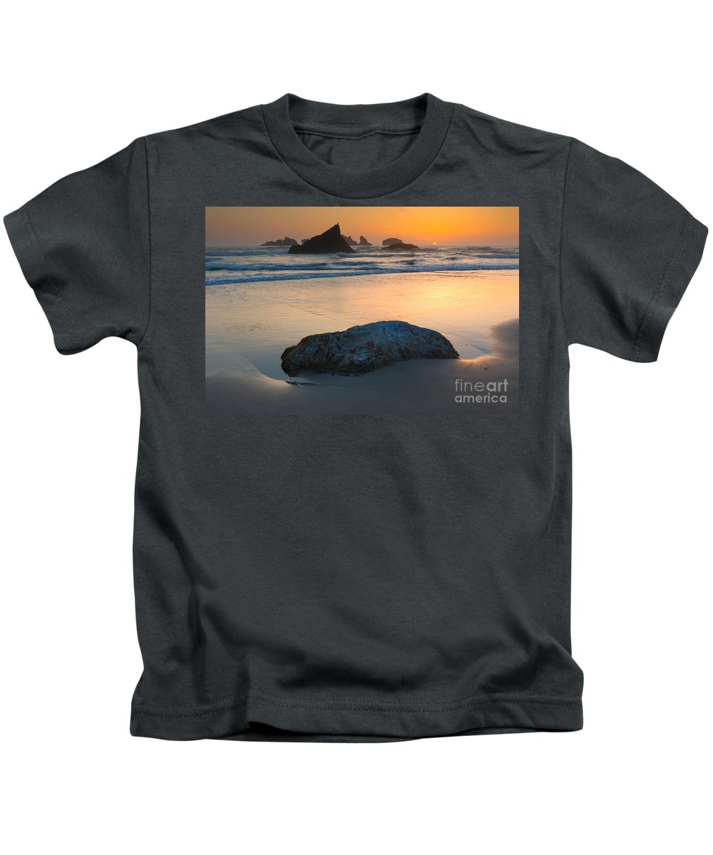 Seastack Kids T-Shirt featuring the photograph Seastacks, Oregon Coast by John Shaw