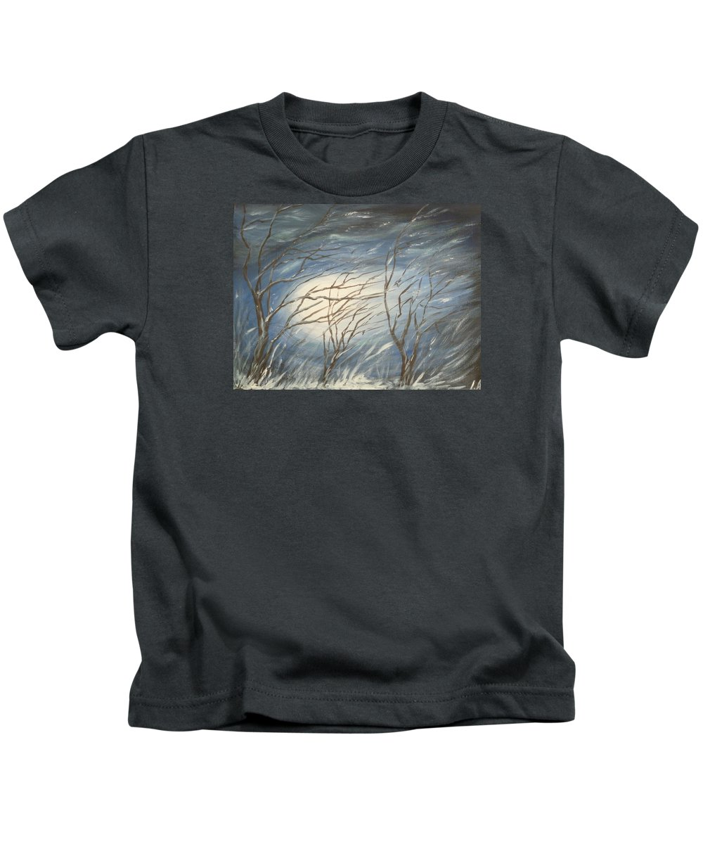 Winter Kids T-Shirt featuring the painting Storm by Irina Astley
