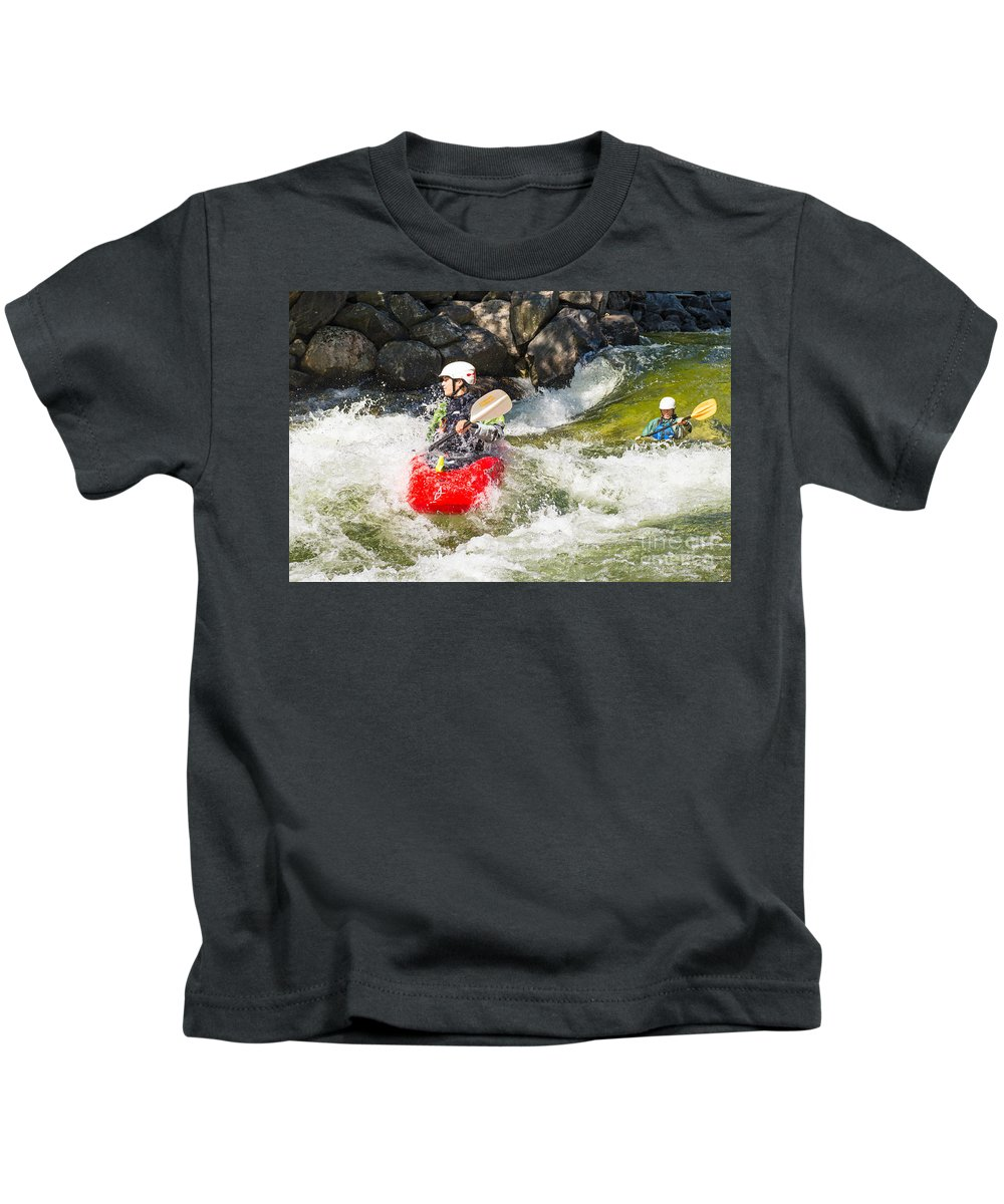 Kayak Kids T-Shirt featuring the photograph Two Whitewater Kayaks by Les Palenik