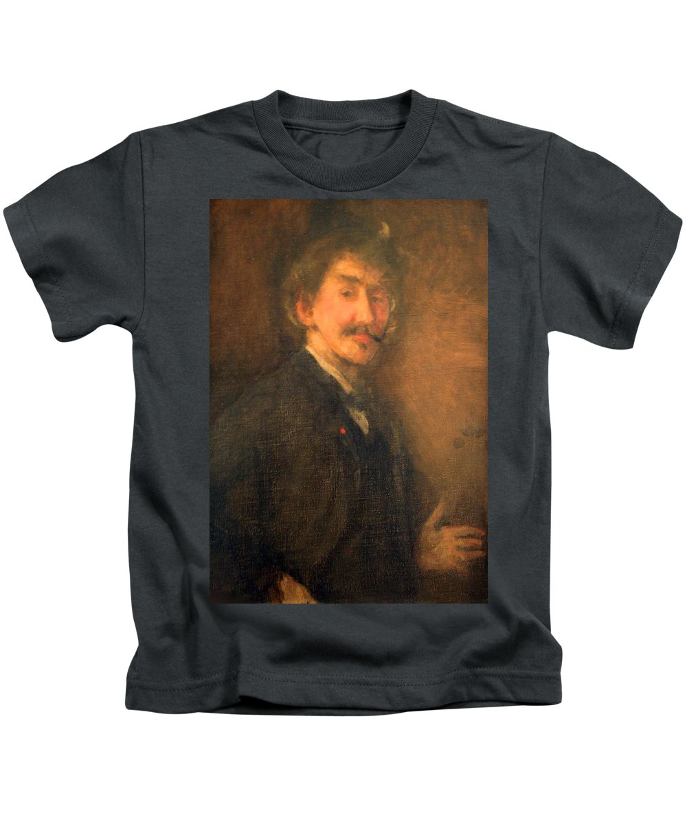 Brown And Gold Kids T-Shirt featuring the photograph Whistler's Brown And Gold Self Portrait by Cora Wandel