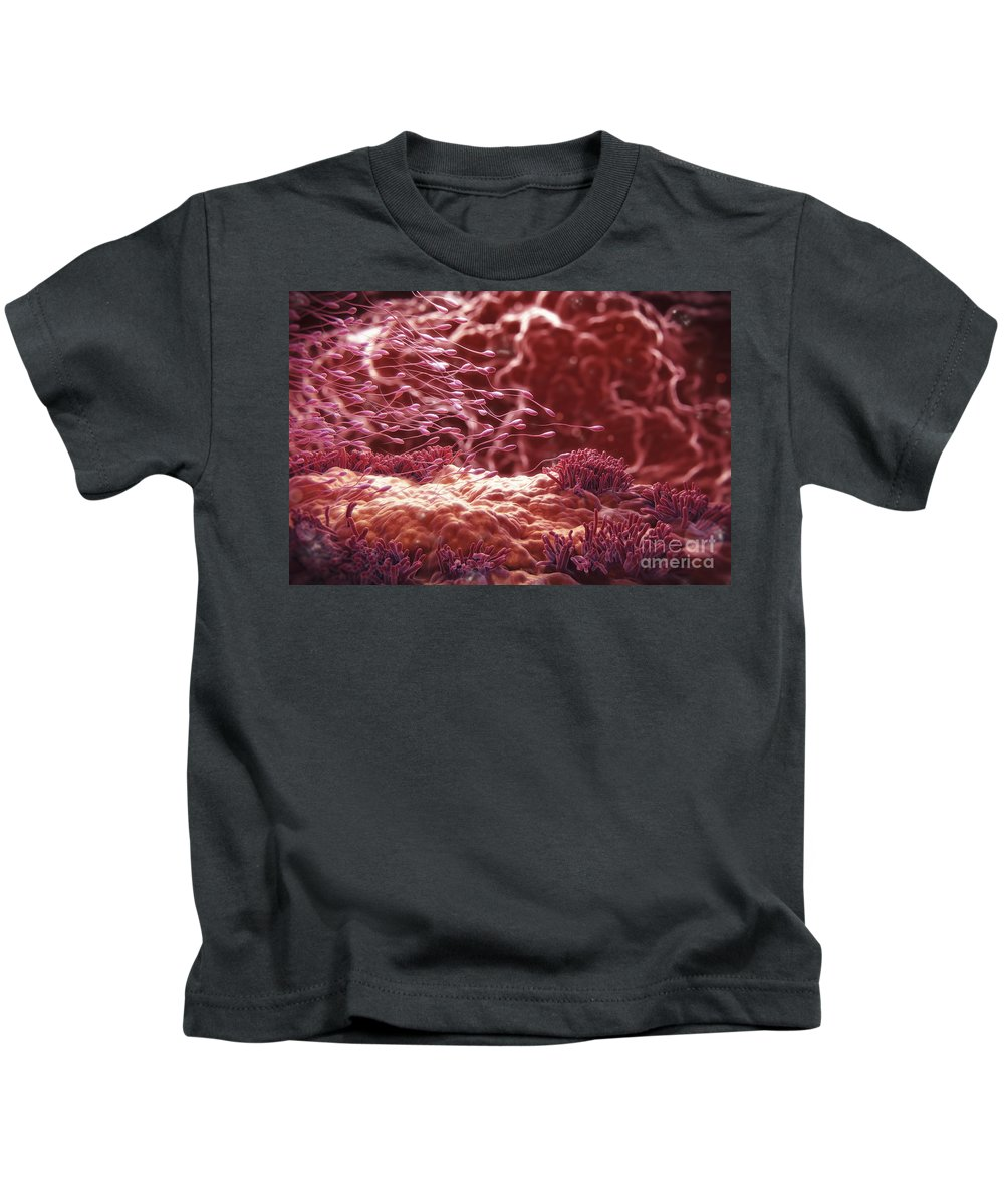 Cell Kids T-Shirt featuring the photograph Human Sperm by Science Picture Co