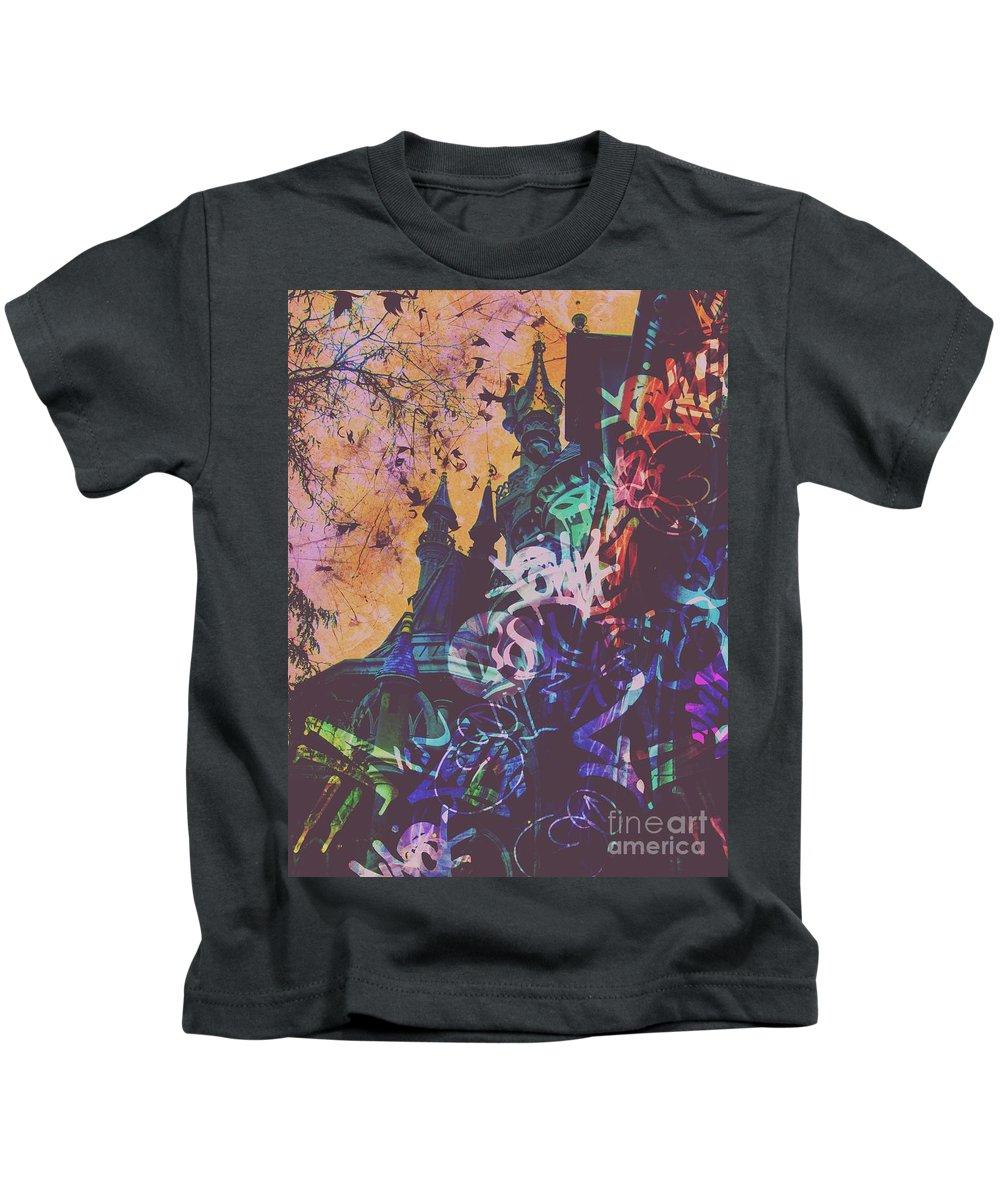 Sleeping Beauty Castle Kids T-Shirt featuring the digital art Aurora's Nightmare II by Marina McLain