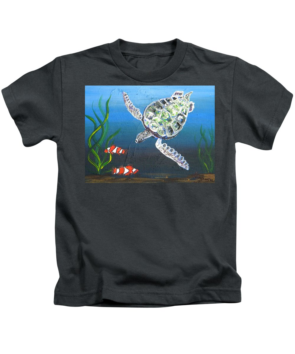 Turtle Kids T-Shirt featuring the painting Green Sea Turtle by Eric Johansen