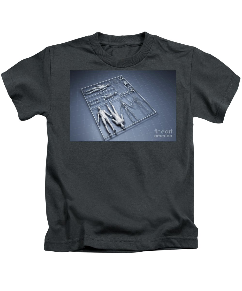 Gray Background Kids T-Shirt featuring the photograph Human Cloning by Science Picture Co