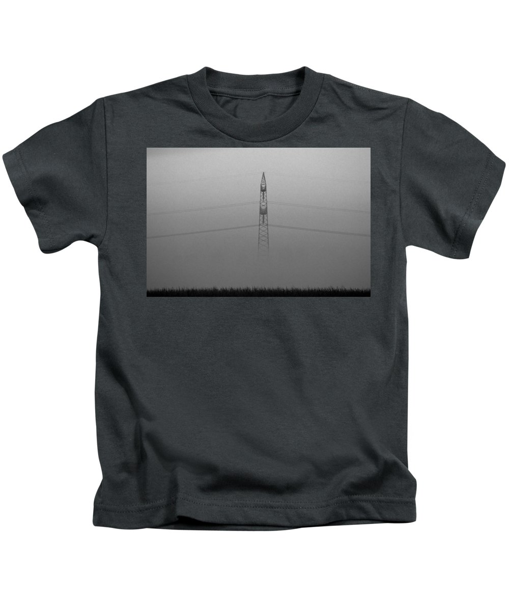 Black White Bw Mist Misty Fog Morning Electricity High Voltage Landscape Tension Kids T-Shirt featuring the photograph Misty Morning by Steve K