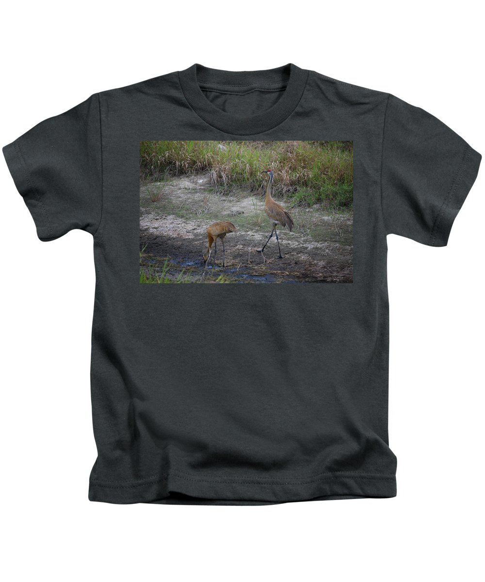 Strutting Kids T-Shirt featuring the photograph Sandhill Crane by Robert Floyd