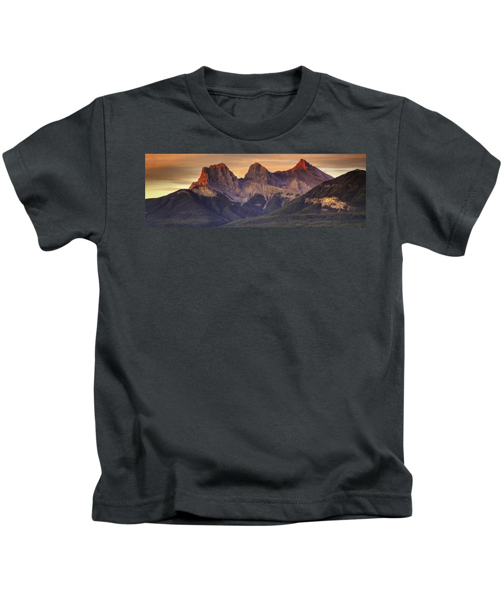 Panoramic Kids T-Shirt featuring the digital art 3 Sisters Canmore Alberta by Diane Dugas