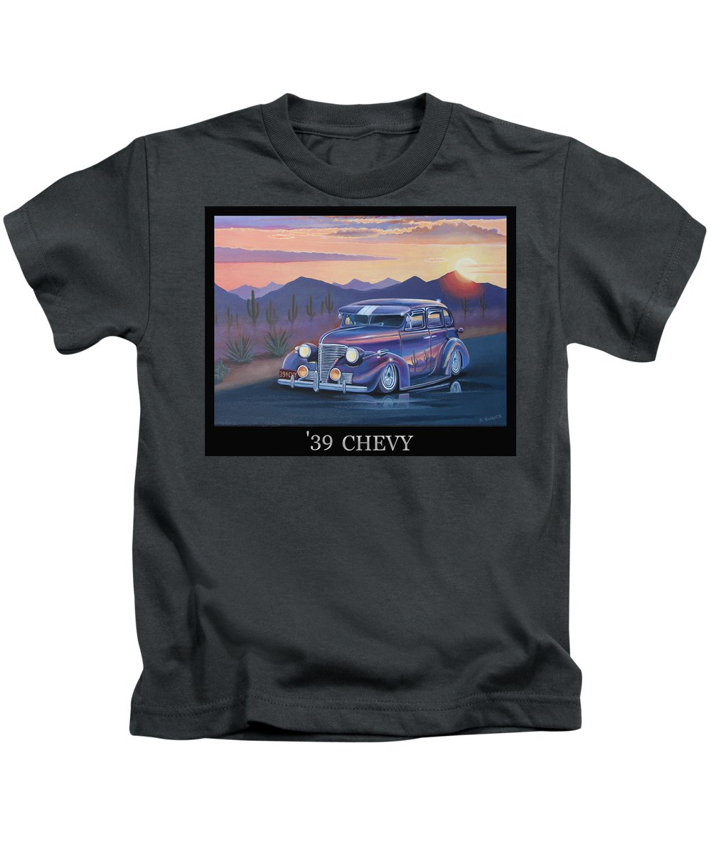 Automotive Kids T-Shirt featuring the painting '39 Chevy by Stuart Swartz