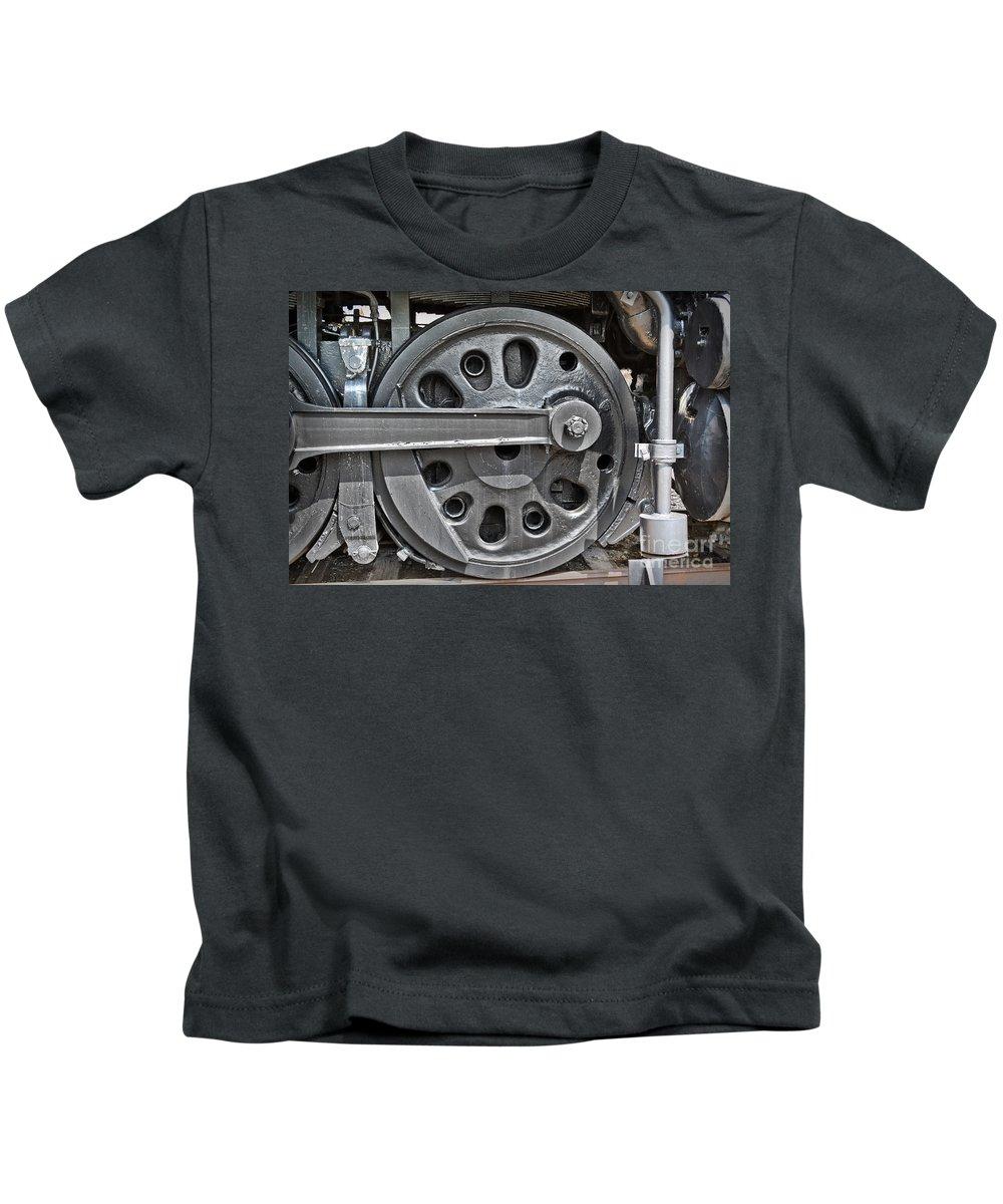 Train Kids T-Shirt featuring the photograph 4-8-8-4 Wheel Arrangement by Gary Keesler