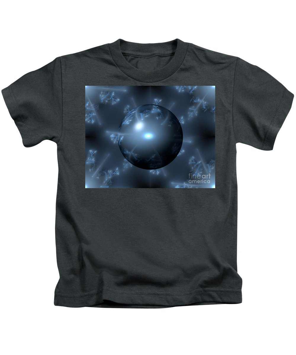 Blue Kids T-Shirt featuring the digital art Abstract Blue Globe by Henrik Lehnerer
