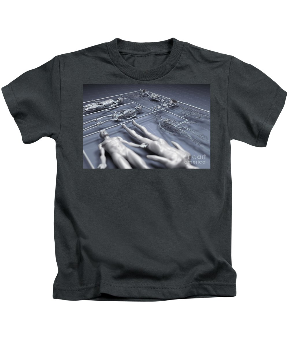 3d Visualisation Kids T-Shirt featuring the photograph Human Cloning by Science Picture Co