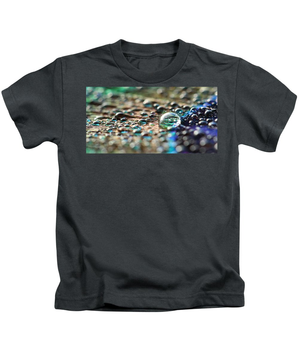Peacock Feather Kids T-Shirt featuring the photograph Drops by Heike Hultsch