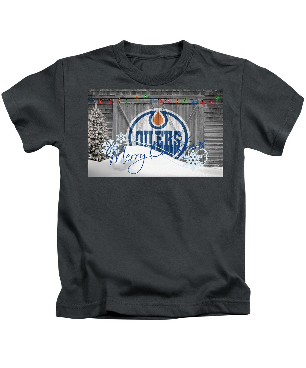 Oilers Kids T-Shirt featuring the photograph Edmonton Oilers by Joe Hamilton