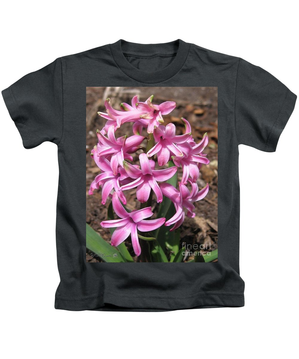 Hyacinth Kids T-Shirt featuring the painting Hyacinth Named Pink Pearl by J McCombie
