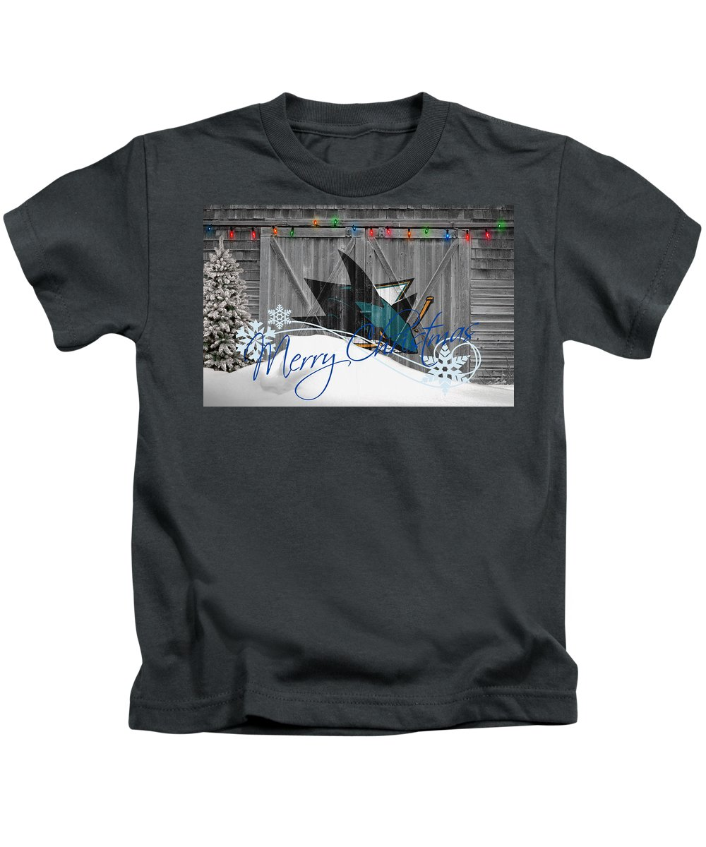 Sharks Kids T-Shirt featuring the photograph San Jose Sharks by Joe Hamilton