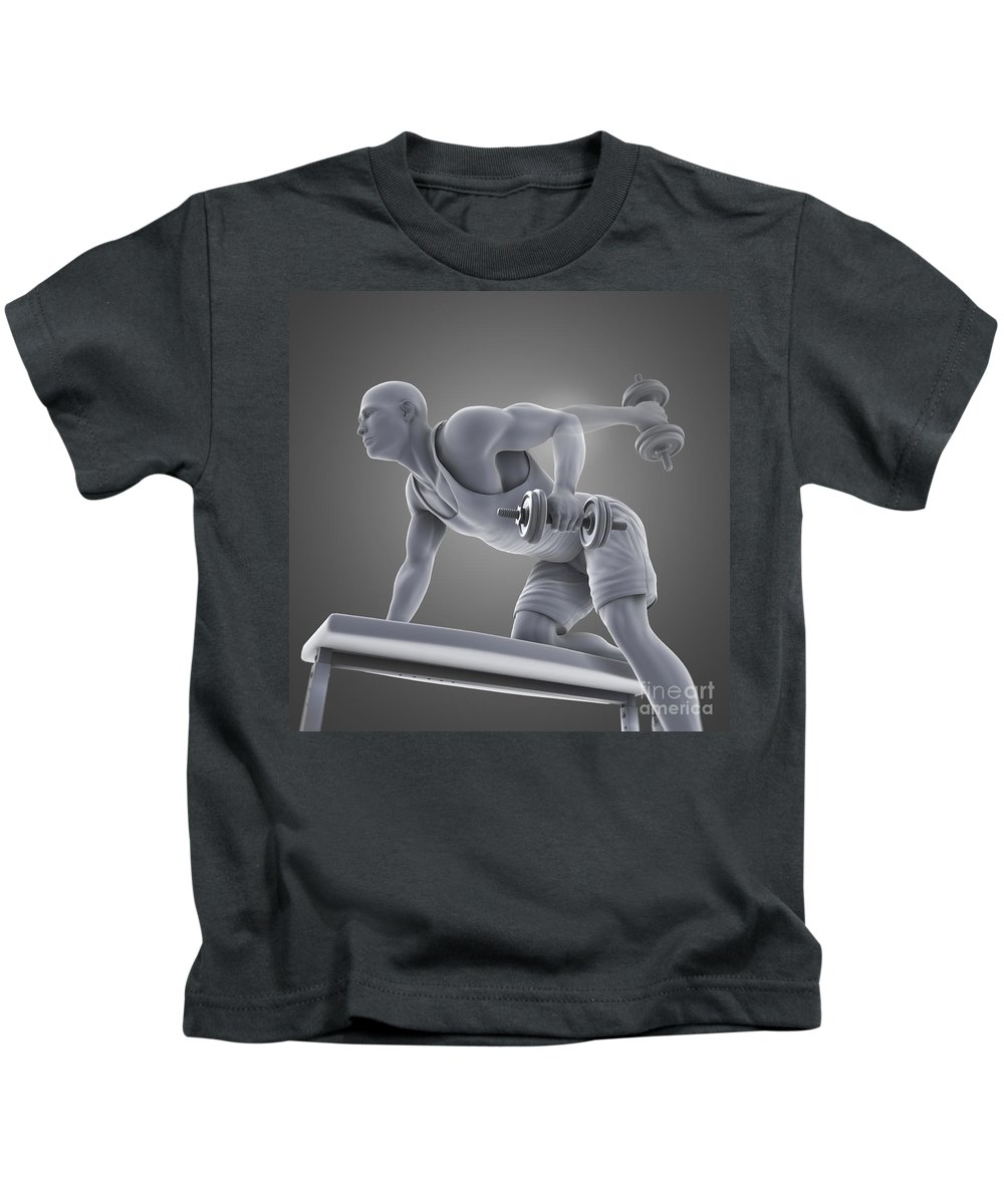 Gray Background Kids T-Shirt featuring the photograph Exercise Workout by Science Picture Co