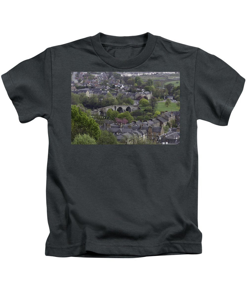 Bridge Kids T-Shirt featuring the photograph Old Stirling Bridge And Houses As Visible From Stirling Castle by Ashish Agarwal