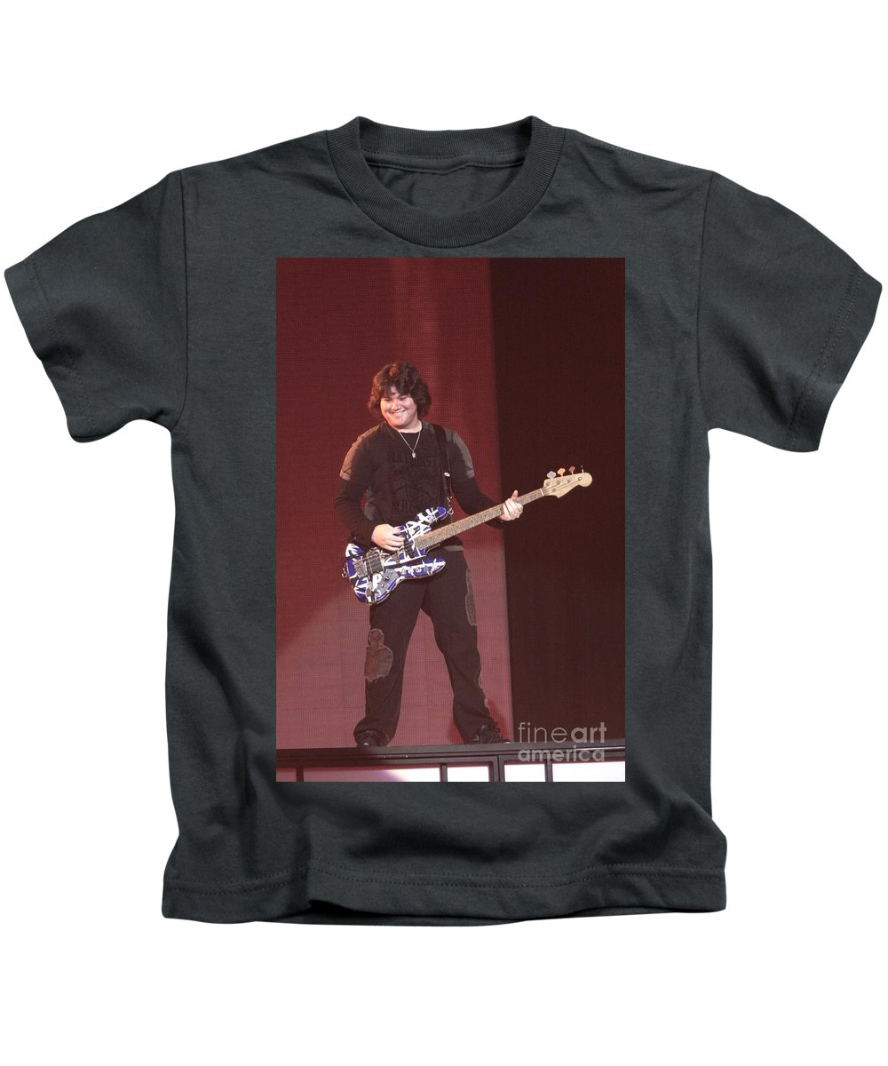 Performing Kids T-Shirt featuring the photograph Van Halen - Wolfgang Van Halen by Concert Photos