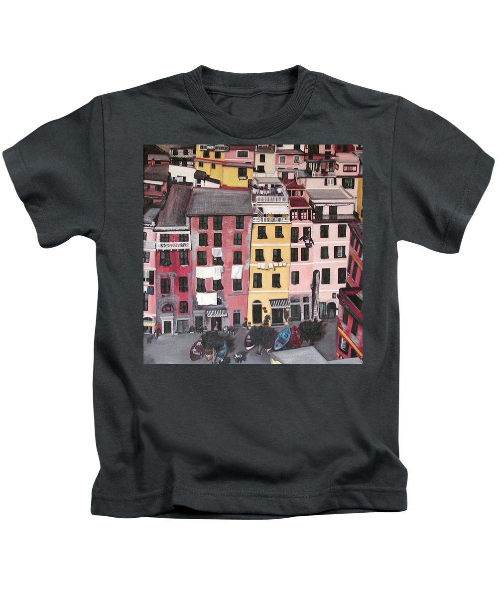 Vernazza Kids T-Shirt featuring the painting A Bird's Eye View Of Cinque Terre by Quin Sweetman