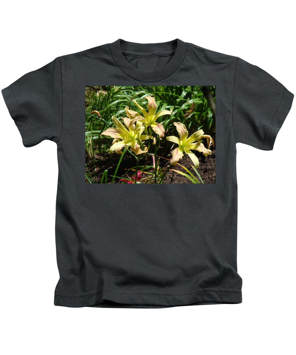 Daylily Kids T-Shirt featuring the photograph A Blush of Summer by Jean Blackmer