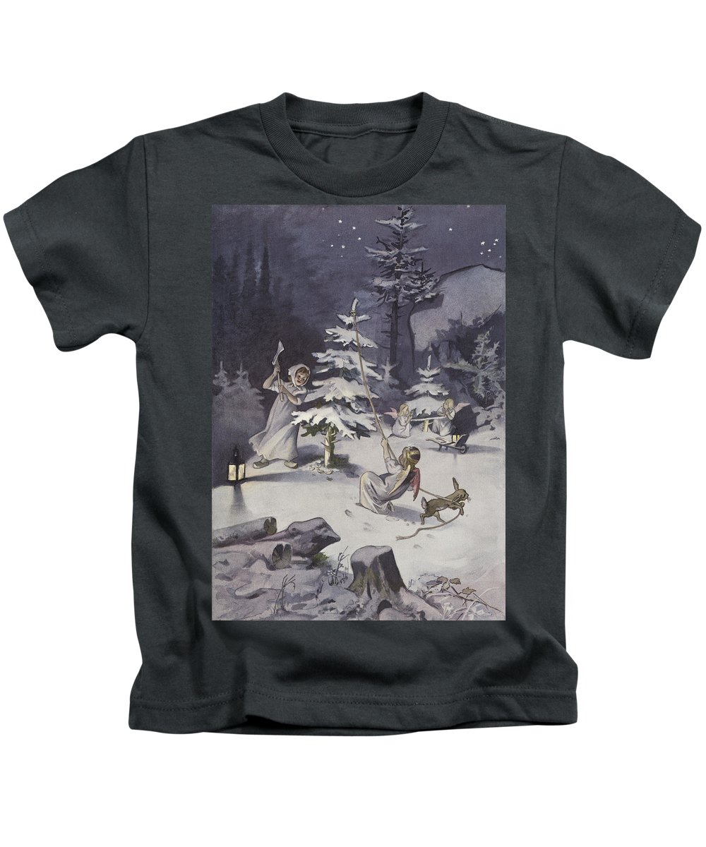 Winter Kids T-Shirt featuring the painting A Cherub Wields An Axe As They Chop Down A Christmas Tree by French School