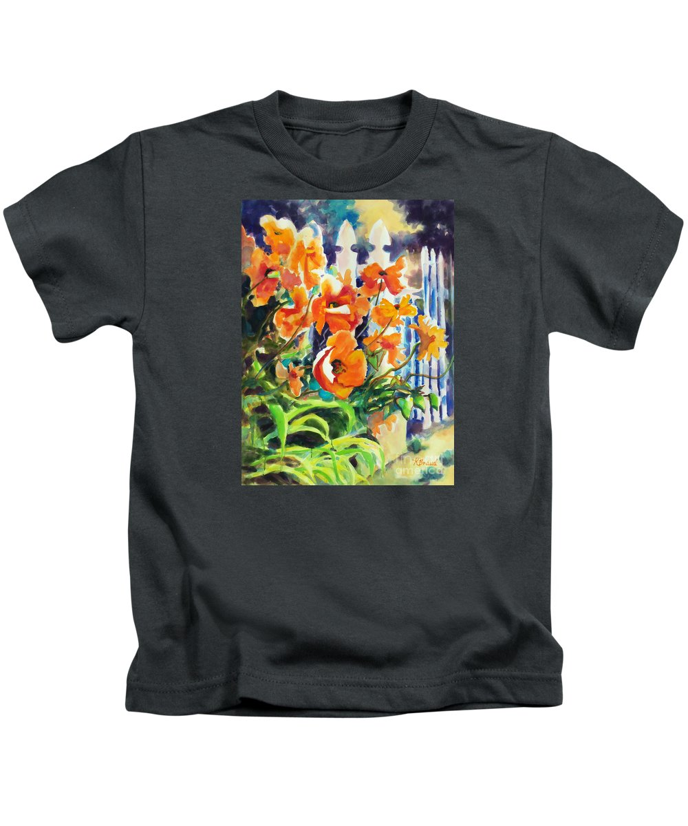 Paintings Kids T-Shirt featuring the painting A Choir Of Poppies by Kathy Braud