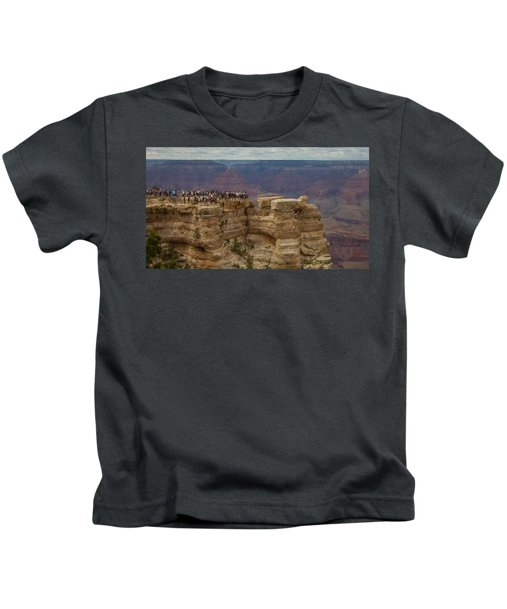 Grand Canyon Kids T-Shirt featuring the photograph A Crowd And A Canyon by Kathleen Odenthal