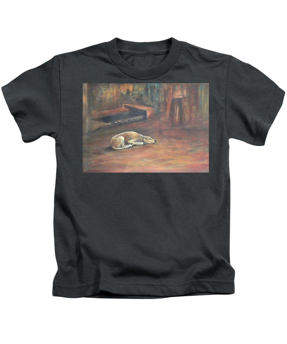 The Dog Kids T-Shirt featuring the painting A Dog's Life. by Usha Shantharam