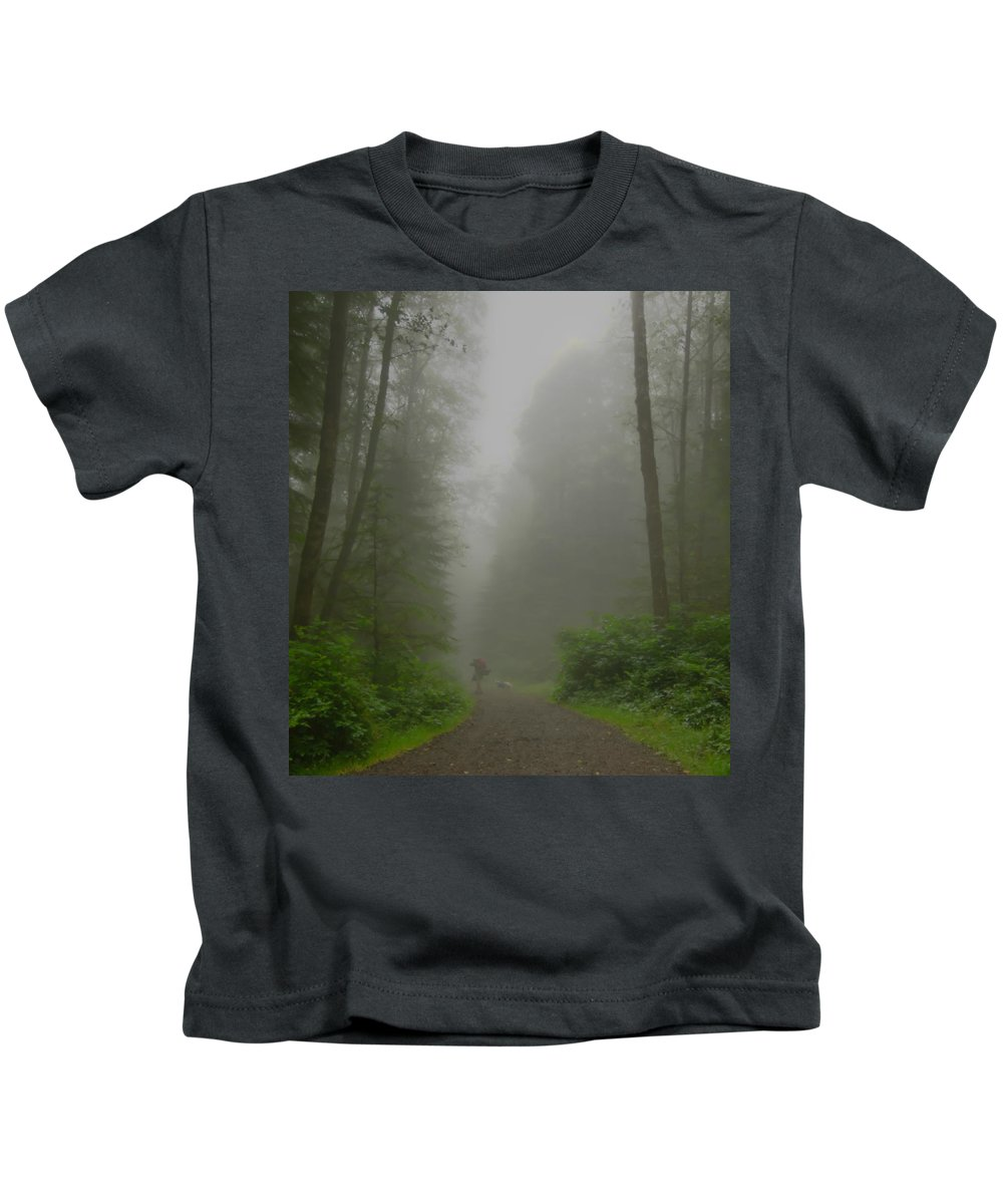 Oregon Coast Kids T-Shirt featuring the photograph A Few Steps Into The Mist by Don Schwartz