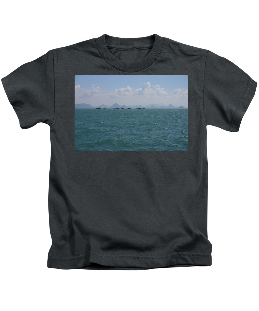 Asia Asian Blue Boat Boats Clouds Coast Day Fishermen Fishing Green Hills Horizon Island Landscape Mountains Nature Ocean Sea Seascape Simple Sky Summer Thai Thailand Tradition Traditional Tranquil Travel Tropical Water Work Kids T-Shirt featuring the photograph A Hard Day At The Office by Fraser McCulloch