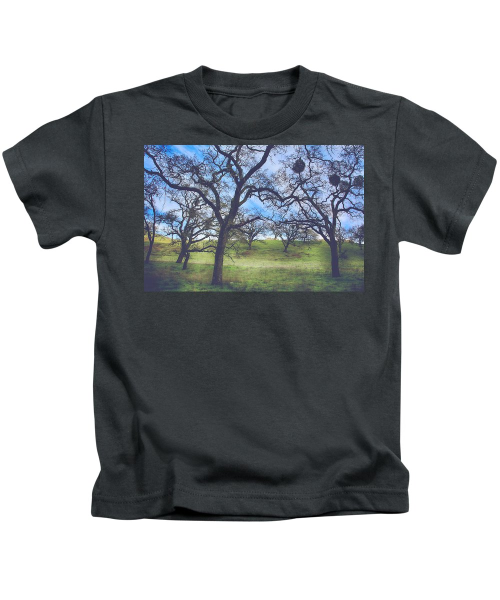 Sunol Ohlone Wilderness Kids T-Shirt featuring the photograph A Meeting Of Men by Laurie Search