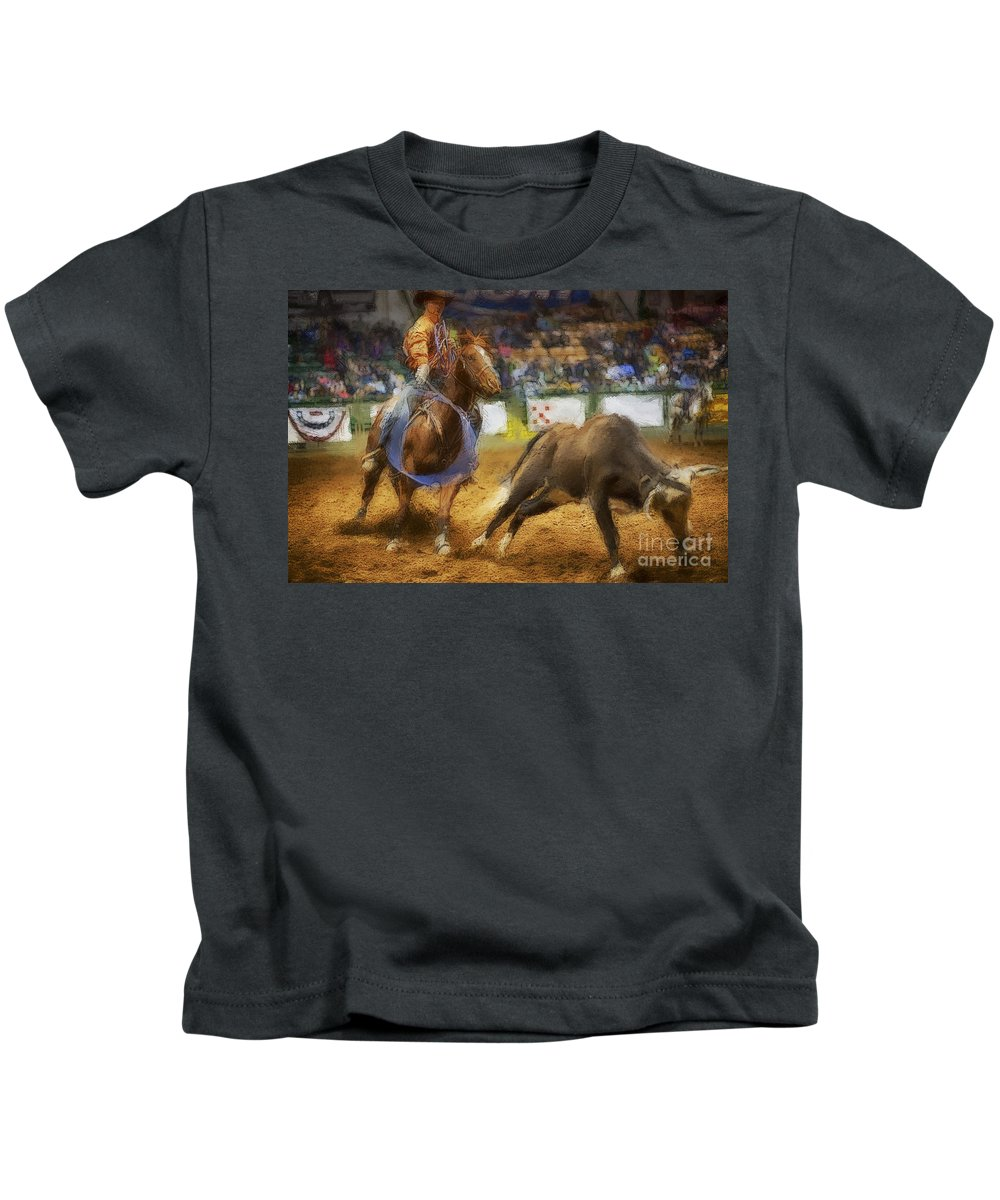 Night Kids T-Shirt featuring the photograph A Night At The Rodeo V18 by Douglas Barnard