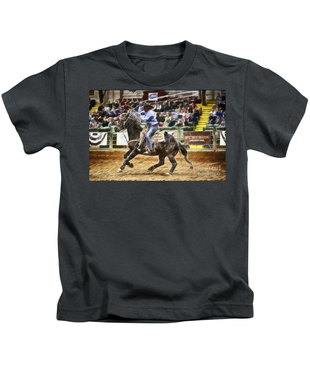 Night Kids T-Shirt featuring the photograph A Night At The Rodeo V19 by Douglas Barnard