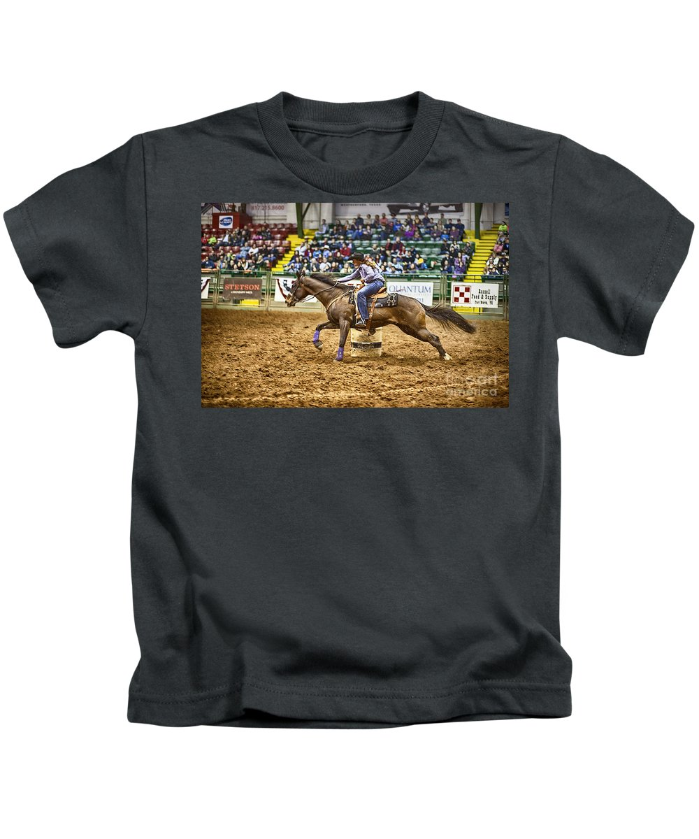 Night Kids T-Shirt featuring the photograph A Night At The Rodeo V28 by Douglas Barnard