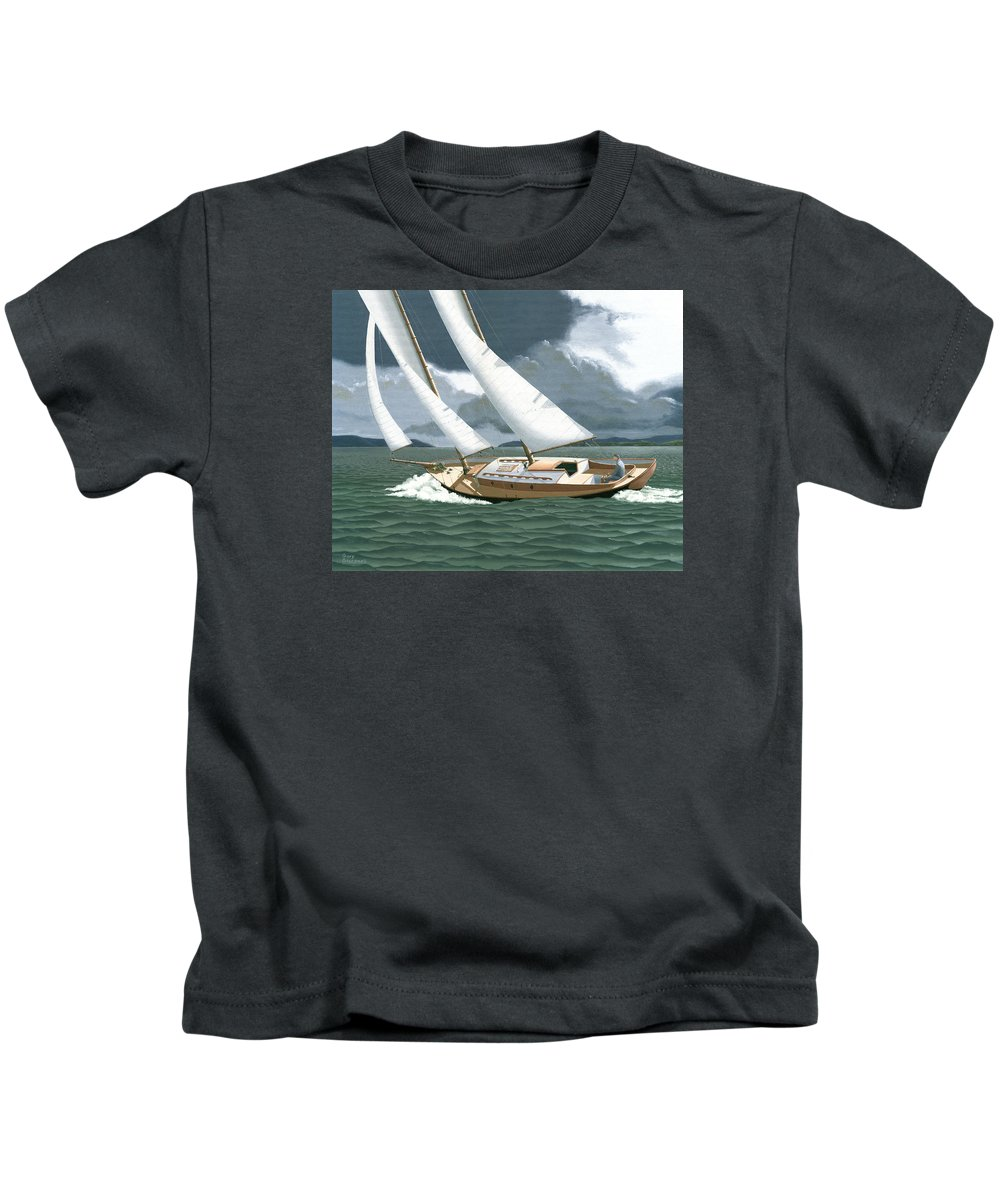 Gulf Islands Kids T-Shirt featuring the painting A passing squall by Gary Giacomelli