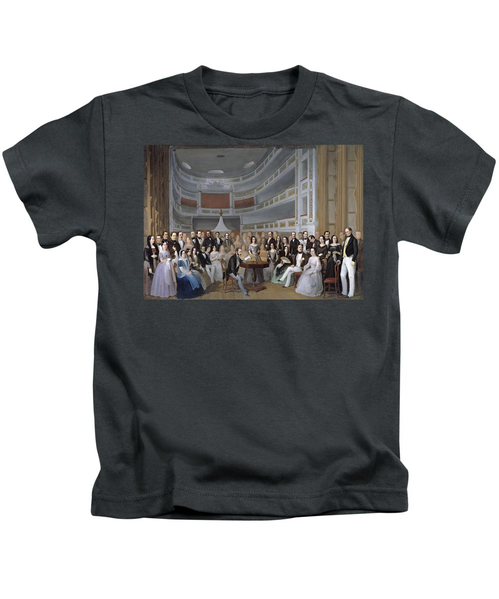 Antonio Maria Esquivel Kids T-Shirt featuring the painting A Reading Of Ventura De La Vega by Antonio Maria Esquivel