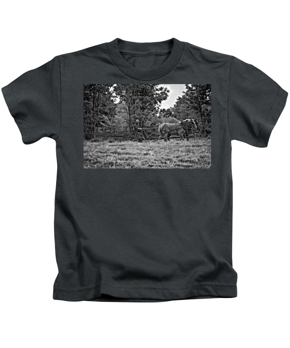 Farm Kids T-Shirt featuring the photograph A Simpler Time Bw by Steve Harrington